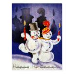 Navidad del vintage que baila velas de los muñecos postal