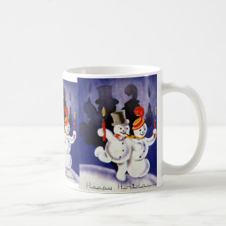 Navidad del vintage que baila velas de los muñecos tazas de café