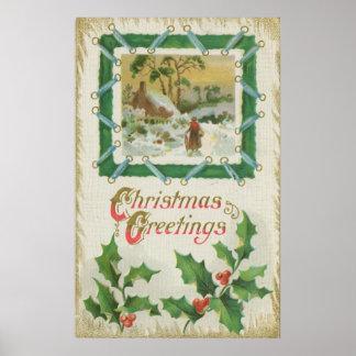 Navidad del vintage que cose y navidad que saluda póster
