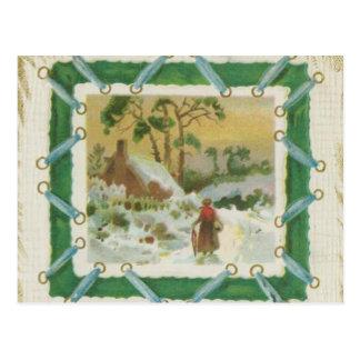 Navidad del vintage que cose y navidad que saluda tarjeta postal