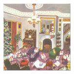 Navidad del vintage que envuelve presentes en sala anuncios