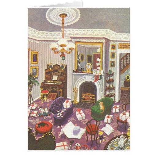 Navidad del vintage que envuelve presentes en sala tarjeton