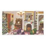 Navidad del vintage que envuelve presentes en sala plantillas de tarjetas de visita