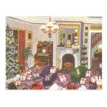 Navidad del vintage que envuelve presentes en sala tarjeta postal