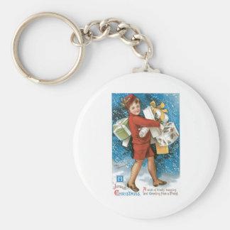 Navidad del vintage que saluda llavero redondo tipo pin