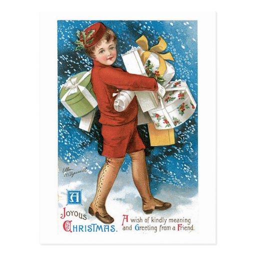 Navidad del vintage que saluda tarjetas postales