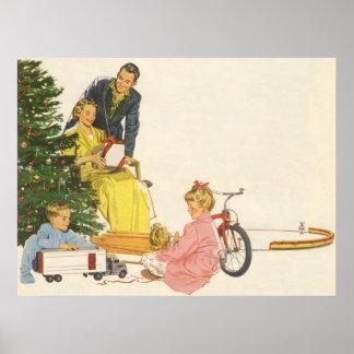Navidad del vintage, regalos de la abertura de la poster