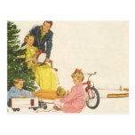 Navidad del vintage, regalos de la abertura de la  tarjetas postales