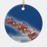 Navidad del vintage, reno del trineo del vuelo de adorno