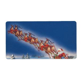 Navidad del vintage reno del trineo del vuelo de etiqueta de envío