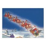 Navidad del vintage, reno del trineo del vuelo de anuncio