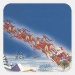 Navidad del vintage, reno del trineo del vuelo de calcomanía cuadradas personalizadas
