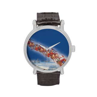 Navidad del vintage, reno del trineo del vuelo de relojes de mano