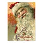 Navidad del vintage, retrato de Papá Noel del Invitación 12,7 X 17,8 Cm