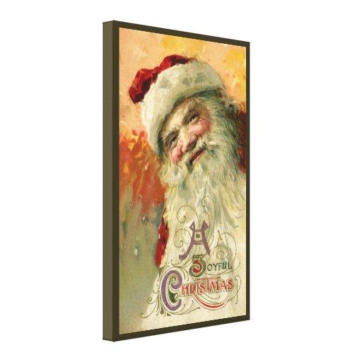 Navidad del vintage, retrato de Papá Noel del Impresión En Lona