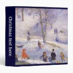 "Navidad del vintage, Sledding, Central Park Carpeta 1 1/2"""