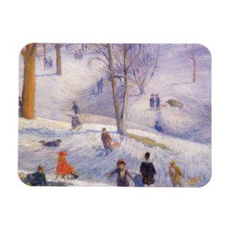 Navidad del vintage, Sledding, Central Park Iman Rectangular
