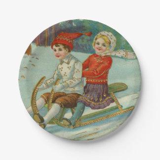 Navidad del vintage Sledding con los niños Plato De Papel De 7 Pulgadas