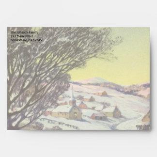 Navidad del vintage, Snowscape con el lago Sobres