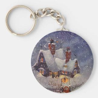 Navidad del vintage, taller Polo Norte de Papá Llavero Redondo Tipo Pin