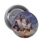 Navidad del vintage, taller Polo Norte de Papá Pin Redondo De 2 Pulgadas