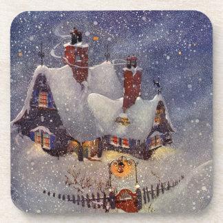Navidad del vintage, taller Polo Norte de Papá Posavasos De Bebidas