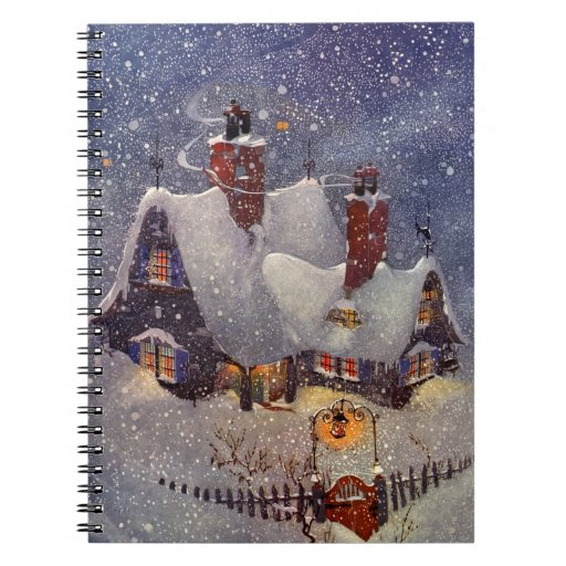 Navidad del vintage, taller Polo Norte de Papá Spiral Notebooks