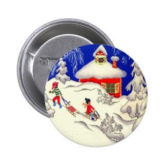 Navidad del vintage, Tobogganing en la colina Pin Redondo De 2 Pulgadas