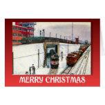 Navidad del vintage, trenes en un empalme tarjetas