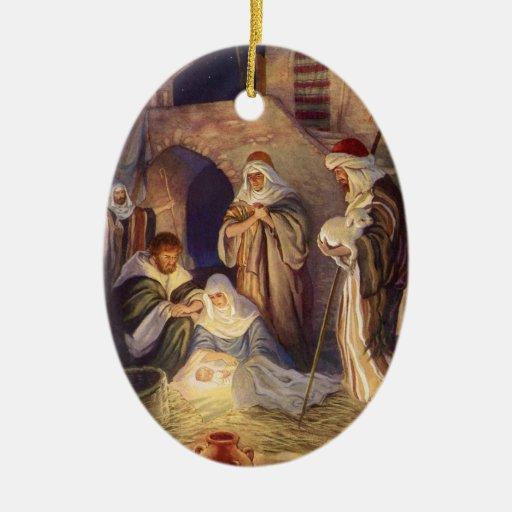 Navidad del vintage, tres pastores y bebé Jesús Adorno Navideño Ovalado De Cerámica