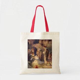 Navidad del vintage, tres pastores y bebé Jesús Bolsa Tela Barata