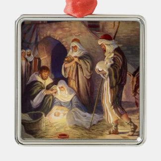 Navidad del vintage, tres pastores y bebé Jesús Adorno Cuadrado Plateado