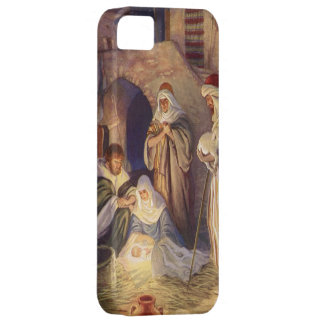 Navidad del vintage, tres pastores y bebé Jesús iPhone 5 Funda