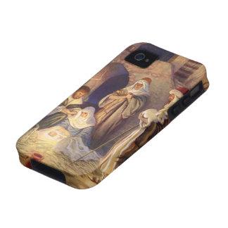 Navidad del vintage, tres pastores y bebé Jesús Vibe iPhone 4 Carcasas