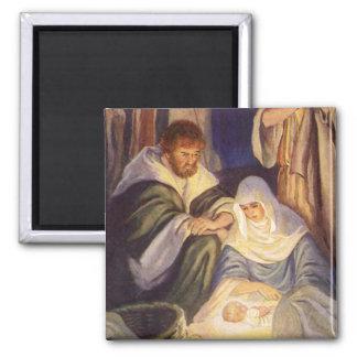 Navidad del vintage, tres pastores y bebé Jesús Imán Cuadrado