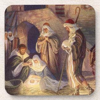 Navidad del vintage, tres pastores y bebé Jesús Posavasos De Bebidas