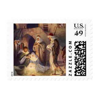 Navidad del vintage, tres pastores y bebé Jesús Sello