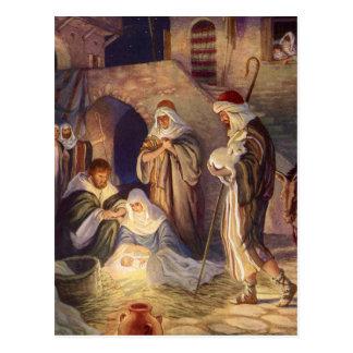 Navidad del vintage, tres pastores y bebé Jesús Postal