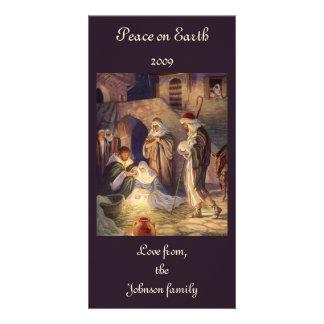 Navidad del vintage, tres pastores y bebé Jesús Tarjetas Personales