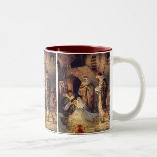 Navidad del vintage, tres pastores y bebé Jesús Taza De Dos Tonos