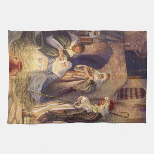 Navidad del vintage, tres pastores y bebé Jesús Toalla