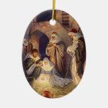 Navidad del vintage, tres pastores y Jesús Ornamentos De Reyes