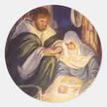 Navidad del vintage, tres pastores y Jesús Pegatinas Redondas