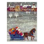 Navidad del vintage, trineo abierto del caballo de