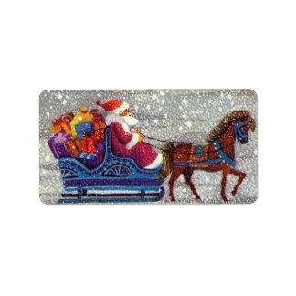 Navidad del vintage trineo abierto del caballo de etiquetas de dirección