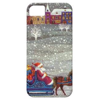 Navidad del vintage, trineo abierto del caballo de iPhone 5 carcasa