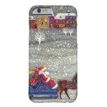 Navidad del vintage, trineo abierto del caballo de funda de iPhone 6 barely there