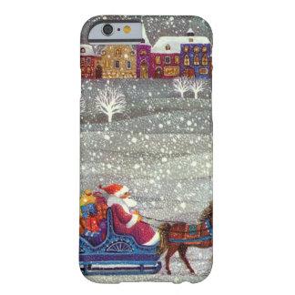 Navidad del vintage, trineo abierto del caballo de funda para iPhone 6 barely there