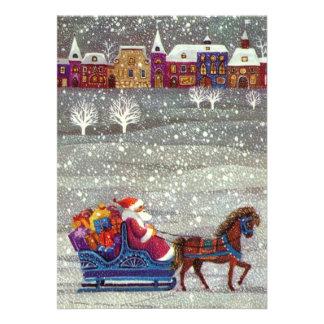 Navidad del vintage, trineo abierto del caballo de invitación