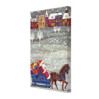 Navidad del vintage trineo abierto del caballo de impresiones en lona